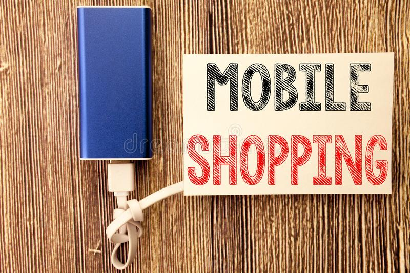 Conceptual hand writing text caption inspiration showing Mobile Shopping. Business concept for Cellphone online order written on s. Ticky note wood wooden royalty free stock photos