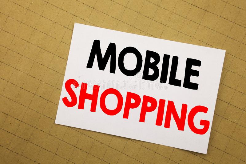 Conceptual hand writing text caption inspiration showing Mobile Shopping. Business concept for Cellphone online order Written on s. Ticky note yellow background stock image