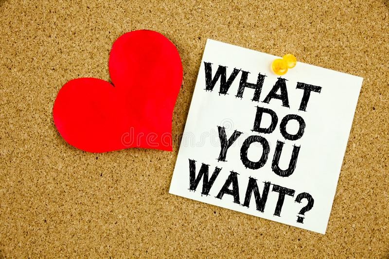 Conceptual hand writing text caption inspiration showing What Do You Want. Business concept for Asking Opportunity Development Que. Stions Love written on sticky stock images