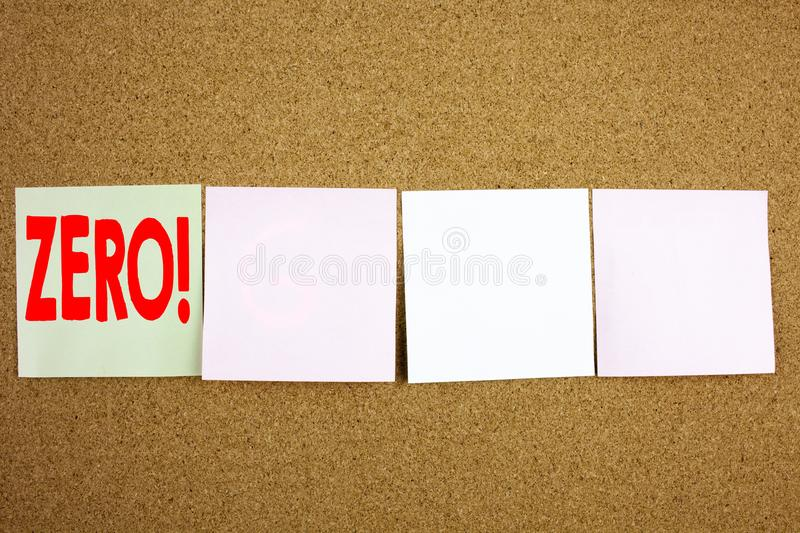 Conceptual hand writing text caption inspiration showing Zero Business concept for Zero Zeros Nought Tolerance on the colourful St. Icky Note close-up background stock photos