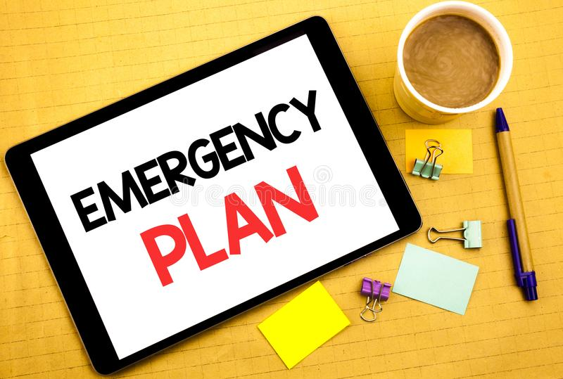 Conceptual hand writing text caption showing Emergency Plan. Business concept for Disaster Protection Written on tablet laptop, wo. Conceptual hand writing text stock image