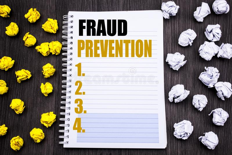 Conceptual hand writing text caption showing Fraud Prevention. Business concept for Crime Protection Written on notepad note noteb. Conceptual hand writing text royalty free stock image