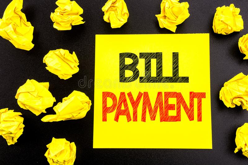 Conceptual hand writing text showing Bill Payment. Business concept for Billing Pay Costs written on sticky note paper. Folded yel. Conceptual hand writing text stock photo