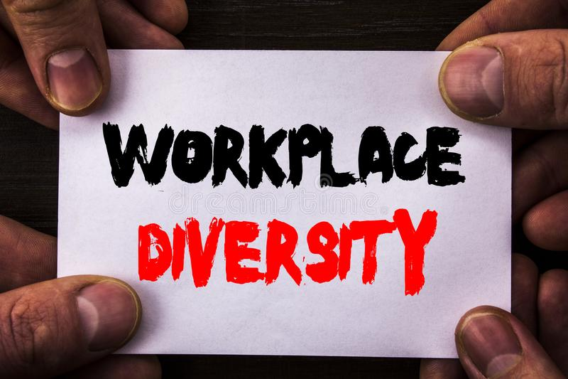 Conceptual hand writing text showing Workplace Diversity. Concept meaning Corporate Culture Global Concept For Disability written. Sticky Note Paper Holding royalty free stock image
