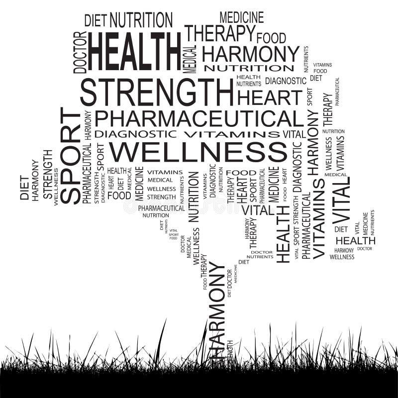 Conceptual health tree word cloud royalty free illustration