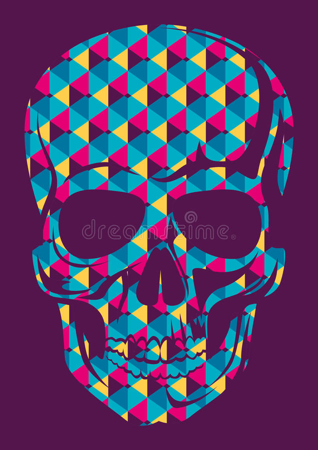 Conceptual human skull. Conceptual human skull in color stock illustration