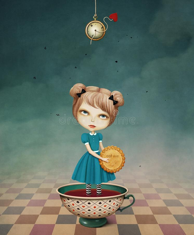 Girl in Cup. Conceptual illustration for fairy tale Wonderland with girl in tea Cup and biscuits. Computer graphics royalty free illustration