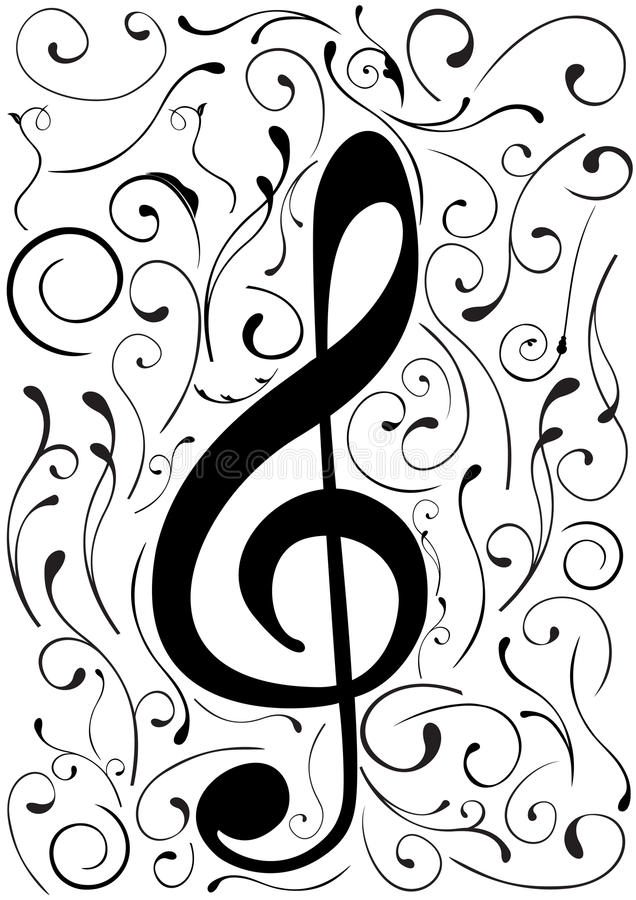 Conceptual illustration of a G clef royalty free illustration