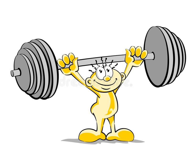 Download Little man lifting weights stock vector. Illustration of white - 30261983