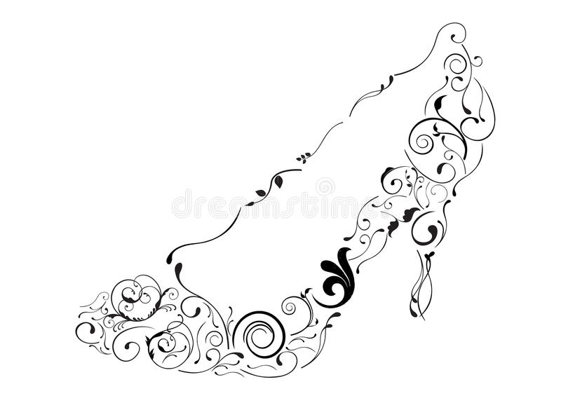 Conceptual illustrations of a shoe with swirls vector illustration