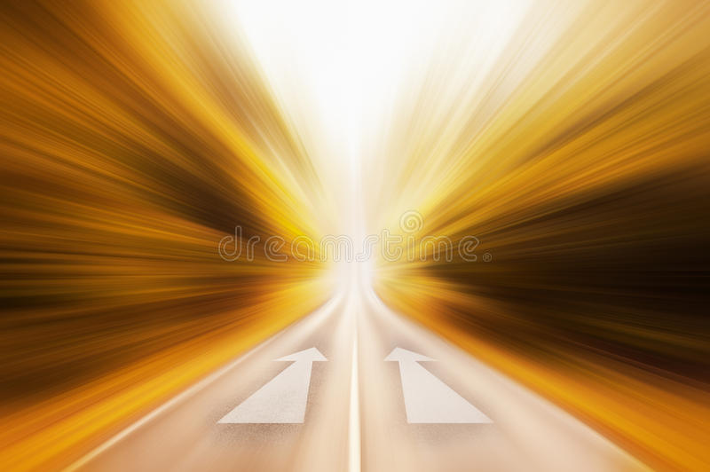 Conceptual image of asphalt road and direction arrow royalty free stock image