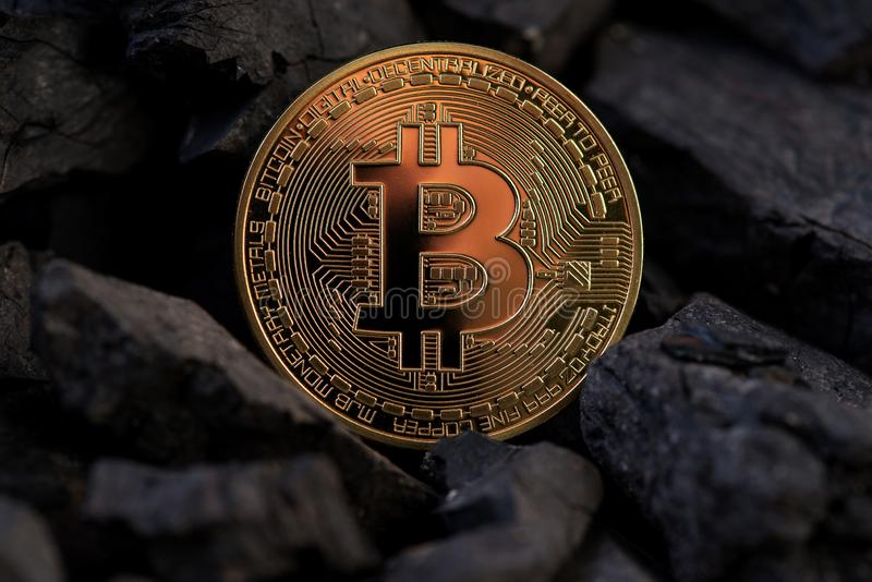 Conceptual image of bitcoin BTC cryptocurrency mining. Mining Golden Bitcoin Cryptocurrency BTC. Mining Using Graphic Cards. Bitcoin mining stock photos