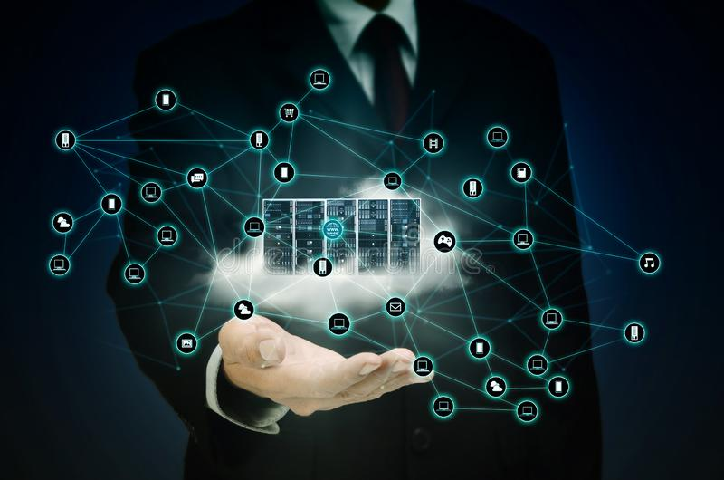 Internet cloud server network royalty free stock photos