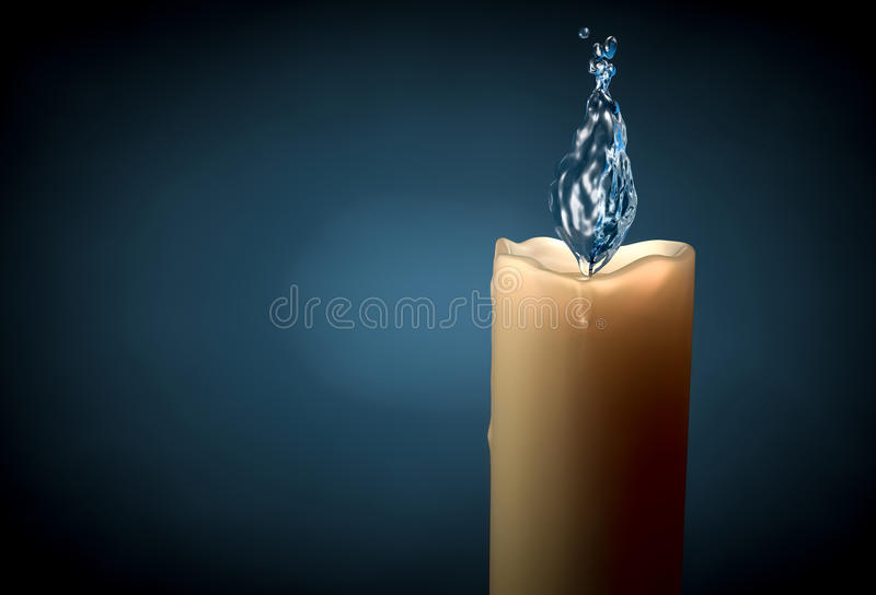 Conceptual image of candle with water and bubble flame royalty free stock photo