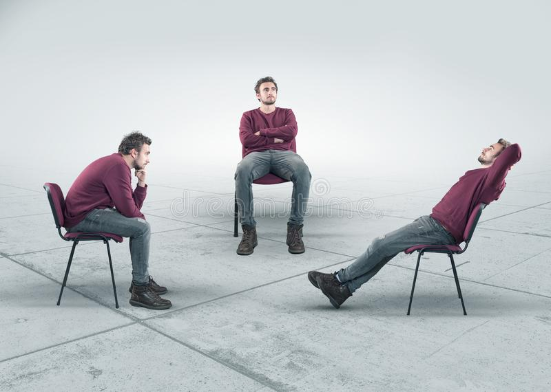 The conceptual image. The concept of thinking process. The conceptual image with a thoughtful man in three different positions sitting on chair. The concept of stock photography