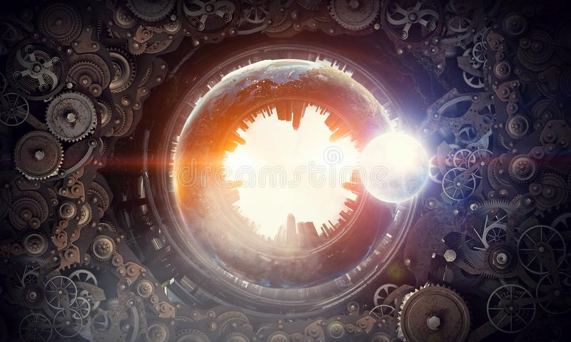 Metal gear mechanism. Conceptual image of construction and production with gears and cogwheels. Elements of this image are furnished by NASA royalty free stock images
