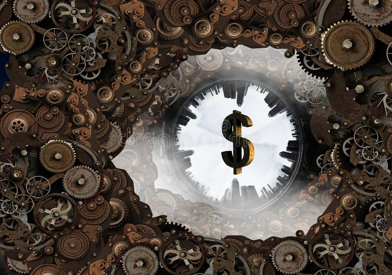 Metal gear mechanism. Mixed media. Conceptual image of construction and production with gears and cogwheels. Mixed media stock photography