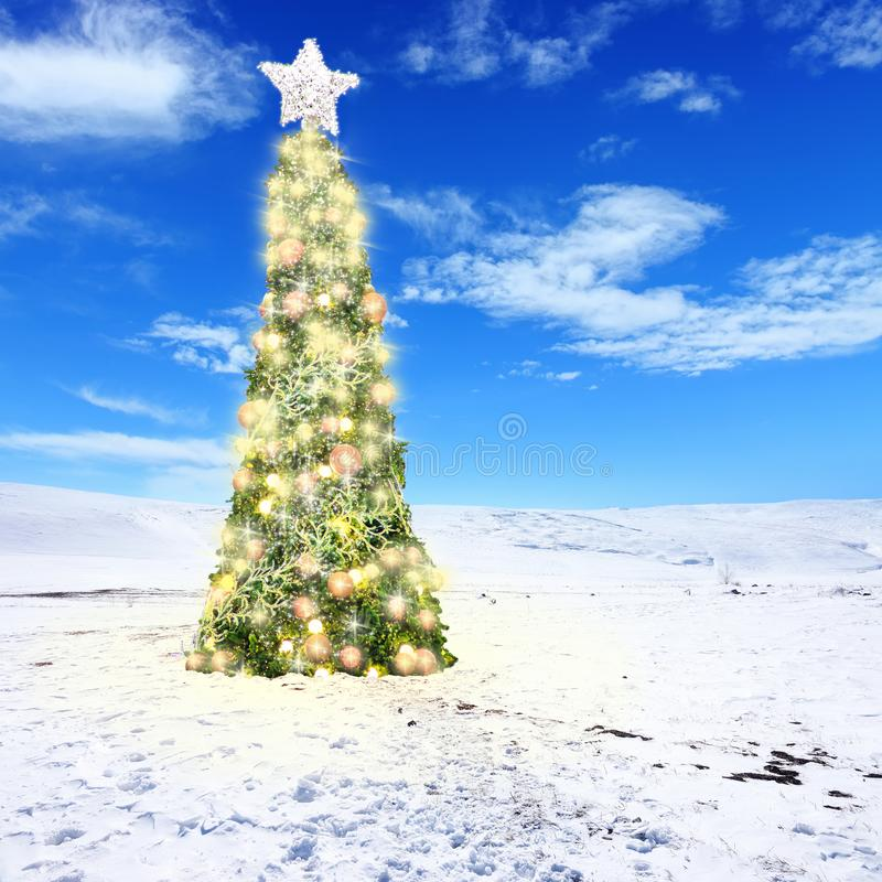 Decorated Christmas tree with colorful lights and ornaments on. Conceptual image of decorated Christmas tree with colorful lights and ornaments on snow covered royalty free stock photo