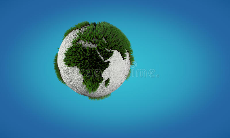 Conceptual image of Earth globe with growing grass stock photo
