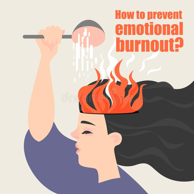 Conceptual image of emotional burnout. The girl is watering the burning brain. vector illustration