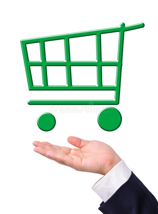 Free Conceptual Image, Green Shopping Cart On Hand. Stock Photos - 19721113