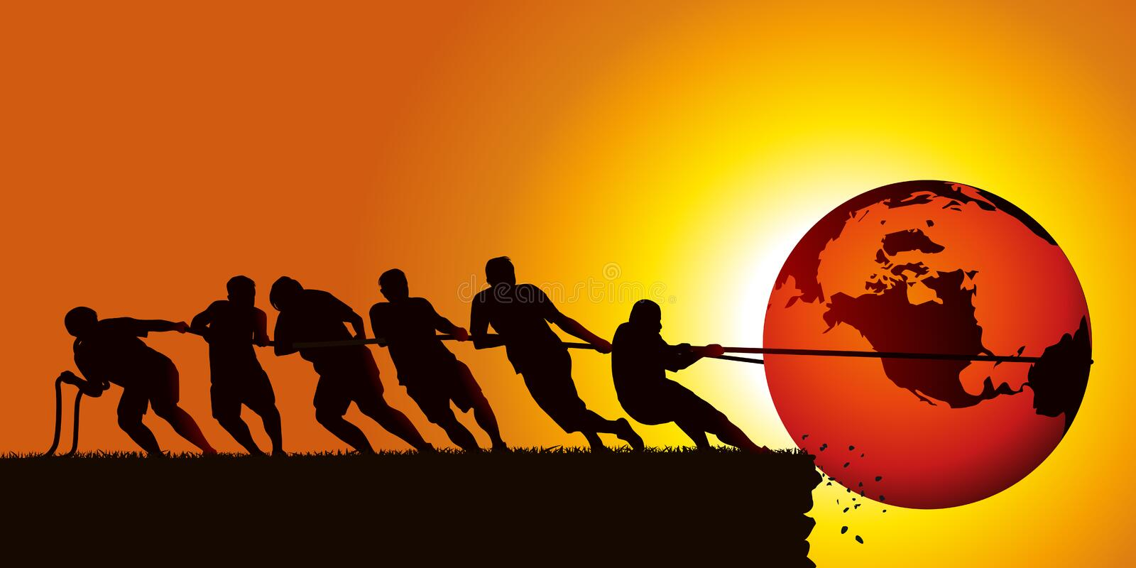 People pull rope to prevent the earth from falling into a pit. Conceptual image of a group trying to hold the globe with a rope to prevent it from falling into stock illustration