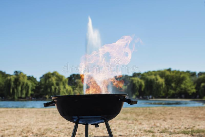 Conceptual image of the intersection of two elements of fire and water royalty free stock photo