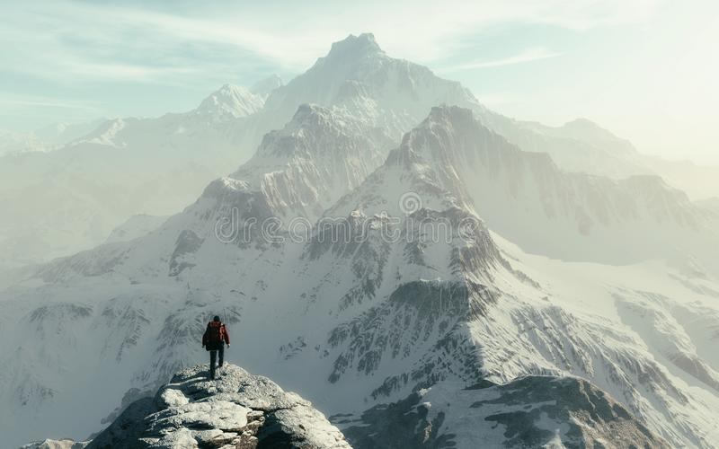 Conceptual image of a man hiker stock images