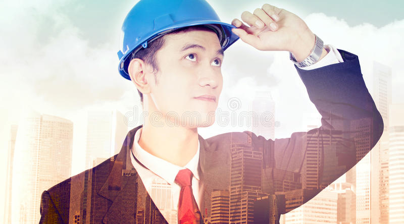 Conceptual image of modern city development stock photos