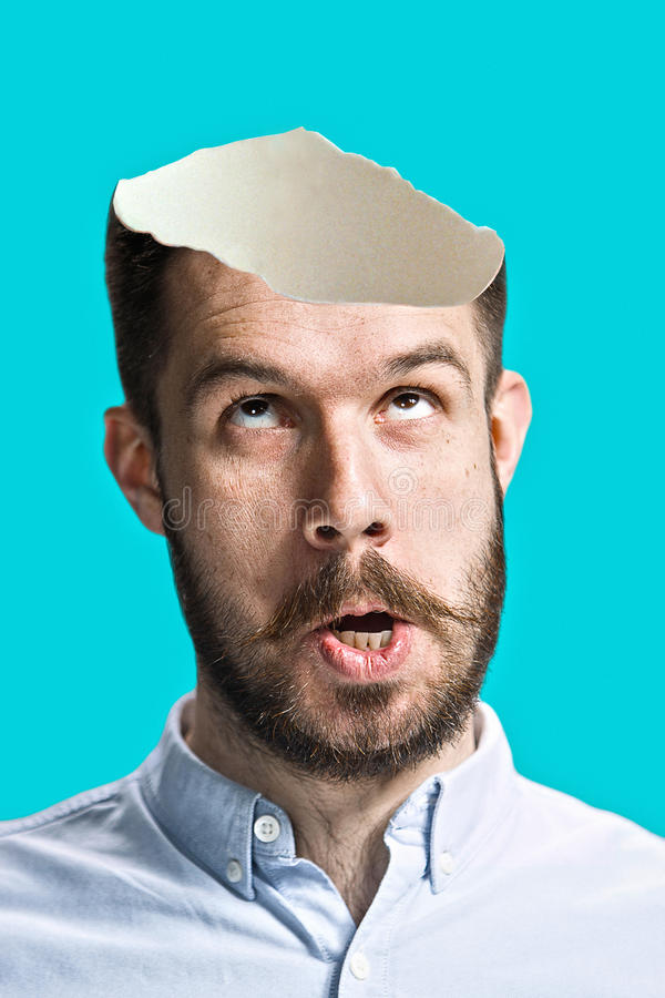 Conceptual image of a open minded man stock photography