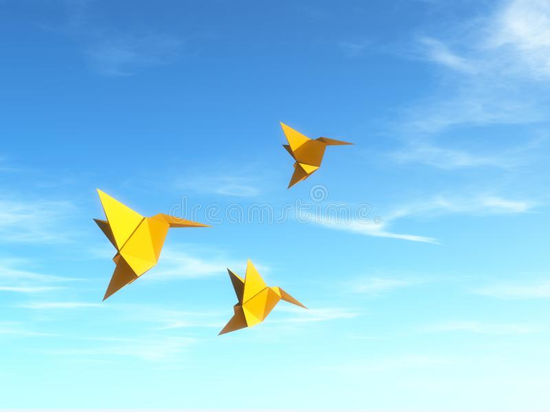 Conceptual image with origami fly birds stock illustration