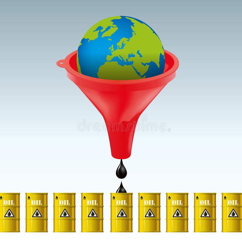 Concept of the excessive exploitation of the planet's oil reserves for financial interests royalty free illustration