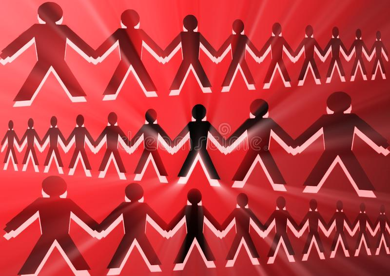 Conceptual image with silhouettes of people joined together 2 royalty free stock photography