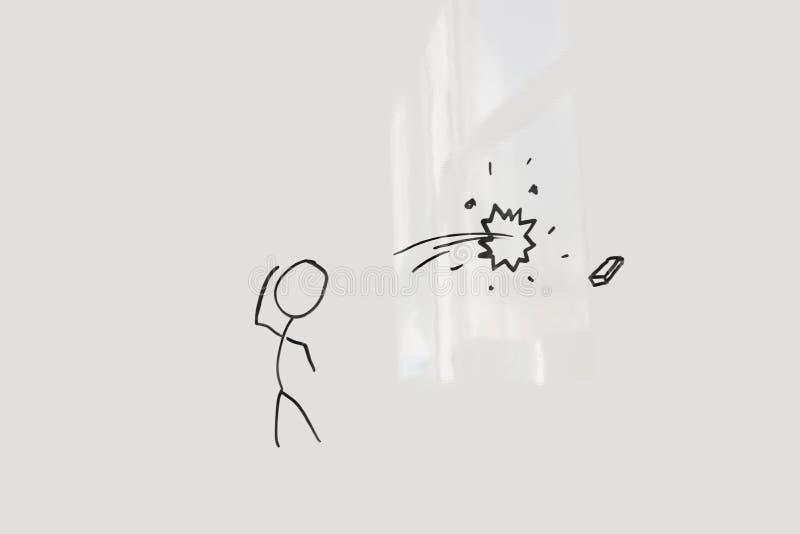 Conceptual image of stick figure breaking glass through eraser stock photo