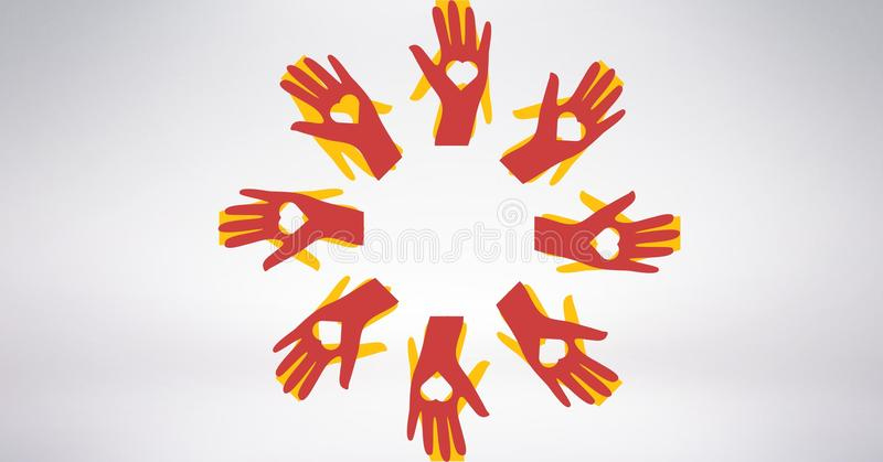 Conceptual image of volunteers hands with heart shaped vector illustration