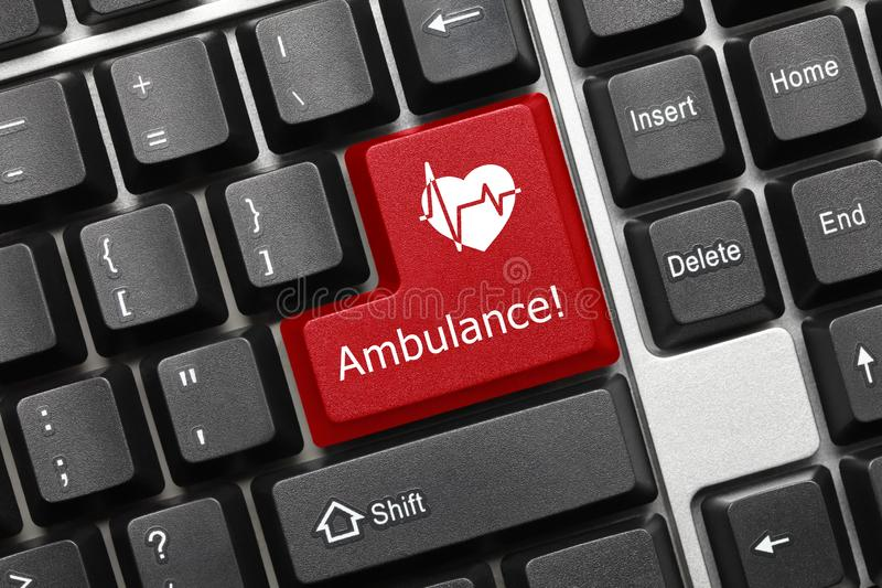 Conceptual keyboard - Ambulance red key with cardiology symbol. Close-up view on conceptual keyboard - Ambulance red key with cardiology symbol stock images