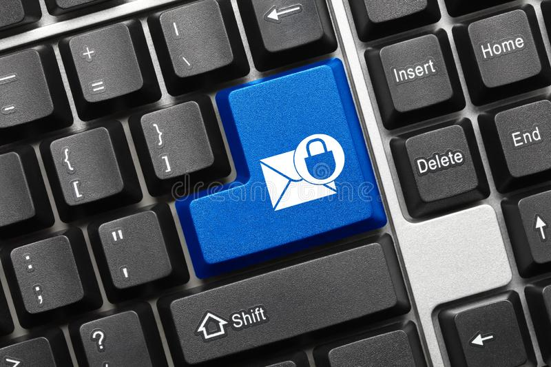 Conceptual keyboard - Blue key with envelope and lock symbol. Close-up view on conceptual keyboard - Blue key with envelope and lock symbol stock photography