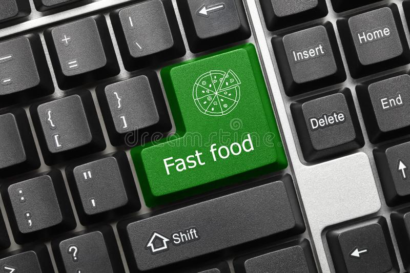 Conceptual keyboard - Fast food green key with pizza symbol. Close-up view on conceptual keyboard - Fast food green key with pizza symbol royalty free stock photos