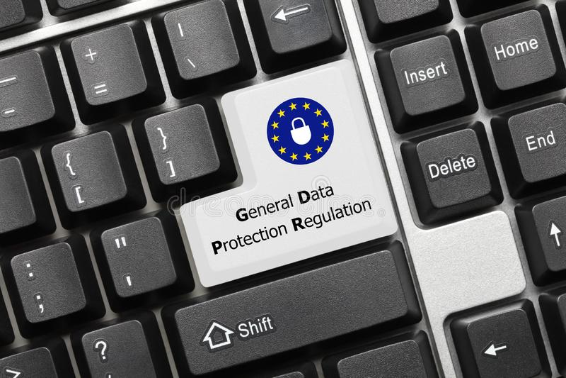 Conceptual keyboard - General Data Protection Regulation white stock image