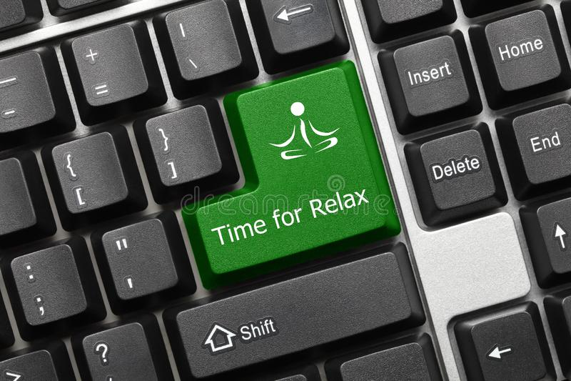 Conceptual keyboard - Time for Relax green key with yoga symbol. Close-up view on conceptual keyboard - Time for Relax green key with yoga symbol royalty free stock photos