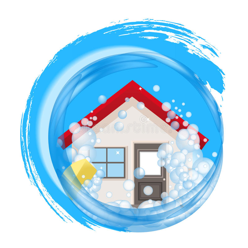 Conceptual logo for clean home. The house in foam in the water. Cycle. Icon cleaning service. Vector illustration royalty free illustration