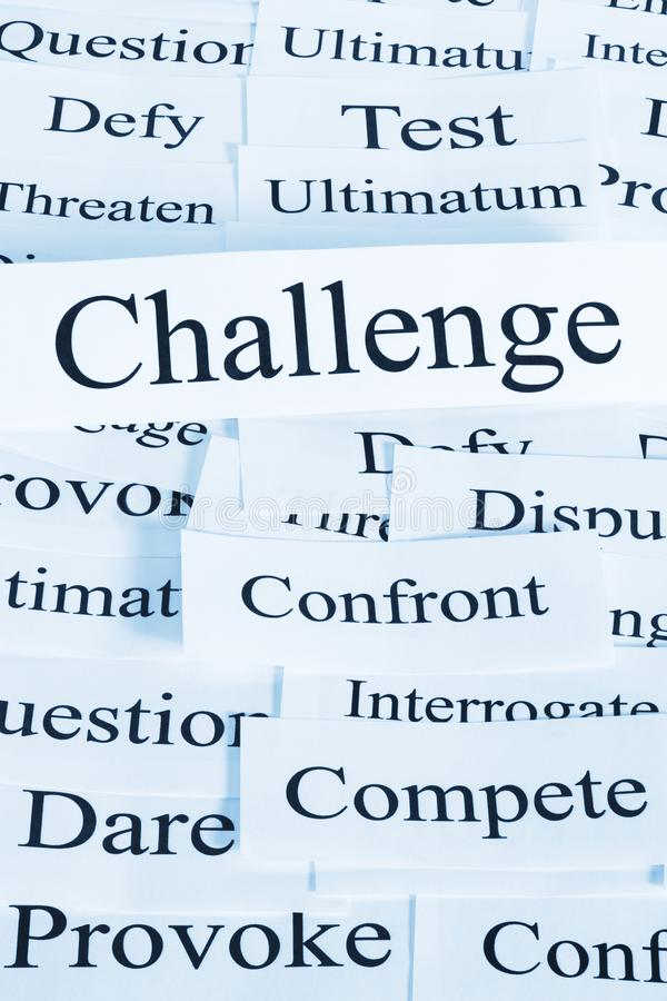 Challenge Concept and Words. A conceptual look at challenge, geing tested, competing, dareing stock image