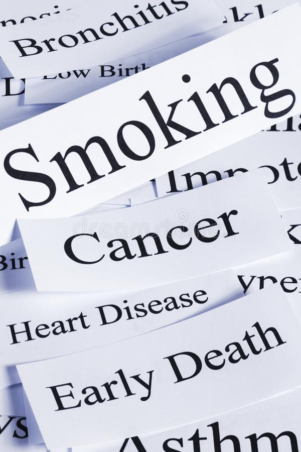 Smoking Concept in Words. A conceptual look at the hazards of smoking, cancer, stroke, bronchitis, impotence, early death stock photo