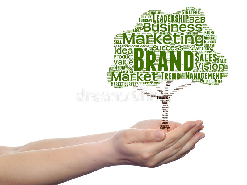 Conceptual media or business tree word cloud. Hand background stock photo