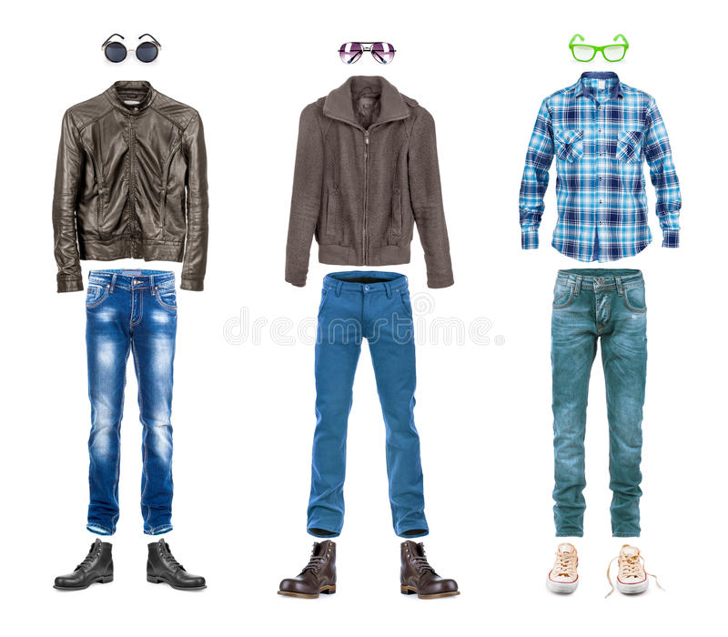 Conceptual menswear collection street style. Isolated on white royalty free stock photo