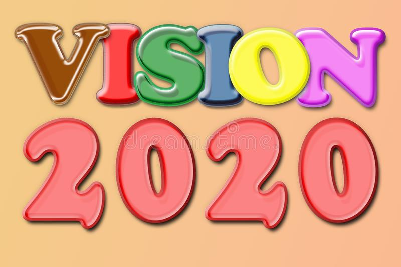 The conceptual message that is written by different colors shows `Vision 2020`. Business motivation, inspiration concepts ideas.  royalty free stock photos