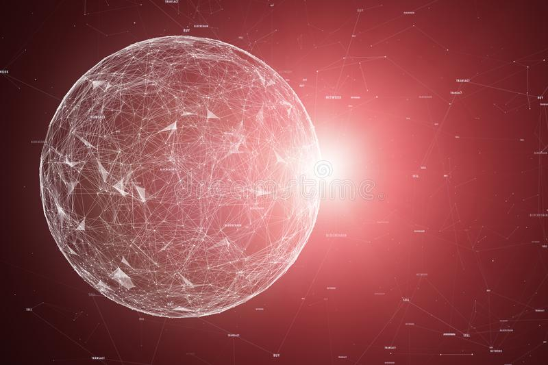 Artistic network sphere with random numbers royalty free stock photo