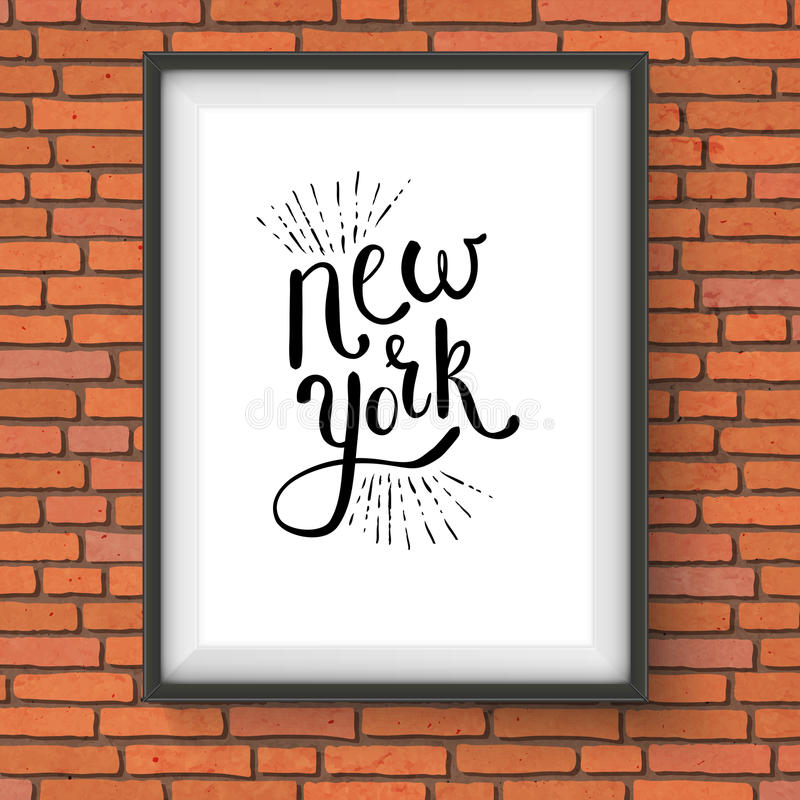 Conceptual New York Texts on a White Frame vector illustration