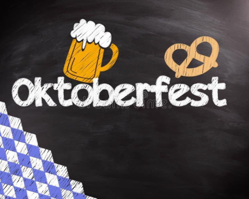 Conceptual Octoberfest Text on Black Chalkboard. Conceptual Octoberfest Text with Mug of Beer and Pretzels Drawing Design on Black Chalkboard royalty free stock photography