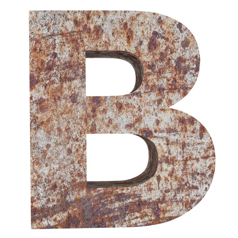 Conceptual old rusted meta capital letter -B, iron or steel industry piece isolated white background. Educative rusty material, aged vintage surface, worn stock illustration